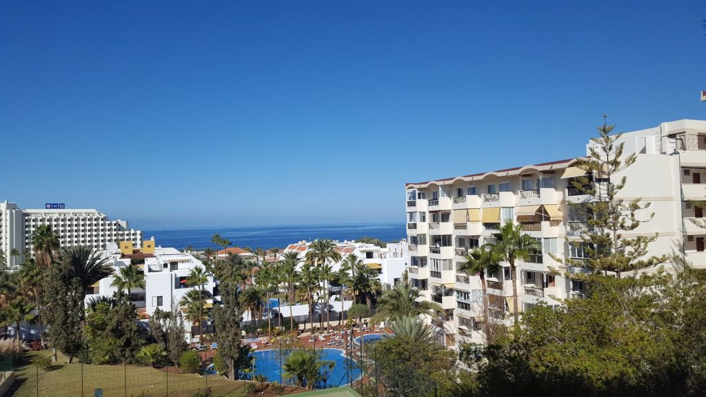 view on the swimming pools and the ocean